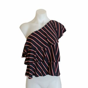 Seed Heritage Size S Blue Striped One Shoulder Top Cocktail